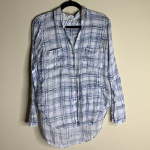 anthro cloth and stone blue plaid long sleeve top